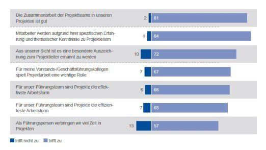 Wie Führungskräfte die Projektarbeit bewerten: Die Mehrheit ist im Große und Ganzen zufrieden.