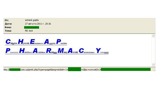 Bei einer SQL-Injection werden Anwender durch Skripts auf eine Spammer-Seite umgeleitet.