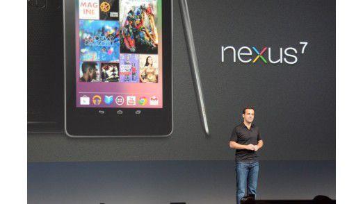Google-Produktmanager Hugo Barra stellt auf der I/O 2012 in San Francisco das Tablet Nexus 7 vor.