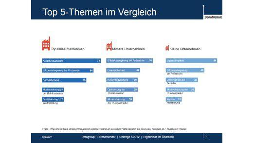 Die Top-Themen im Vergleich: Datensicherheit beschäftigt vor allem KMUs.
