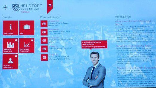 In der virtuellen Neustadt zeigt Microsoft die Möglichkeiten für die Verwaltung.