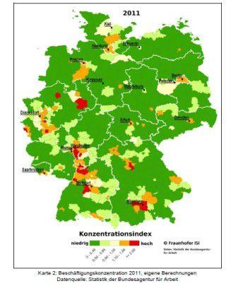 An den roten Ecken konzentriert sich die Branche besonders.