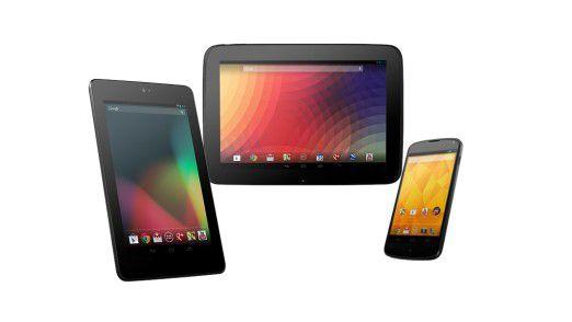 Die drei aktuellen Nexus-Produkte von Google.