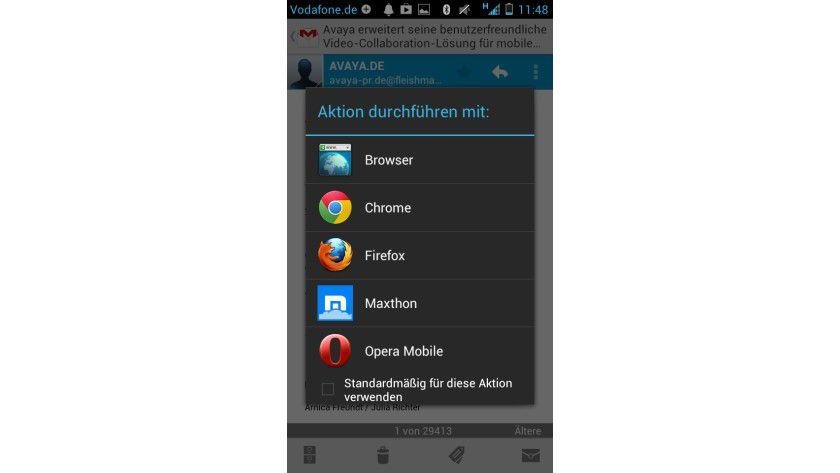Praktisch: Im Gegensatz zu iOS kann man bei Android auf Wunsch einen anderen Browser als neuen Standard definieren.