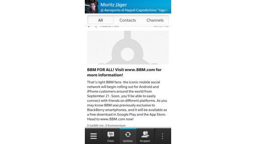 Der Blackberry Messenger, hier mit der neuen Gruppen-Funktion.
