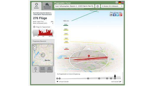 Das Flugrouten-Radar zeigt alle Flüge über Berlin und im Umland an – jede Fluglinie, jede Flughöhe, jeden Lärmwert zu jeder Tages- und Nachtzeit. Mit der App kann man auch im Web arbeiten: www.morgenpost.de/flugrouten.