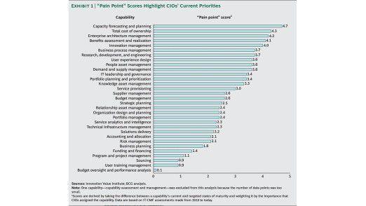 Der wichtigste neuralgische Punkt überhaupt ist für CIOs derzeit Capacity Forecasting and Planning.