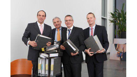 Hagen Rickmann von T-Systems, Michael Müller-Wünsch von Lekkerland, Stephan Fingerling von MAN und Michael Ganser von Cisco (von links) zu Besuch in der CIO-Redaktion.