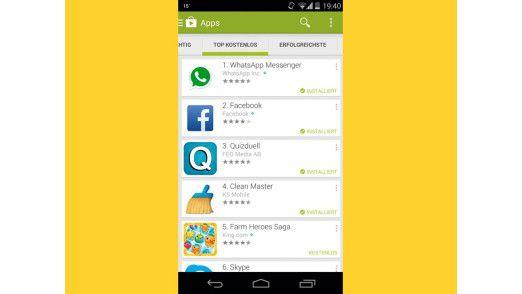 Im Play Store steht Ihnen nahezu eine Million Apps, also Anwendungssoftware, zur Verfügung.