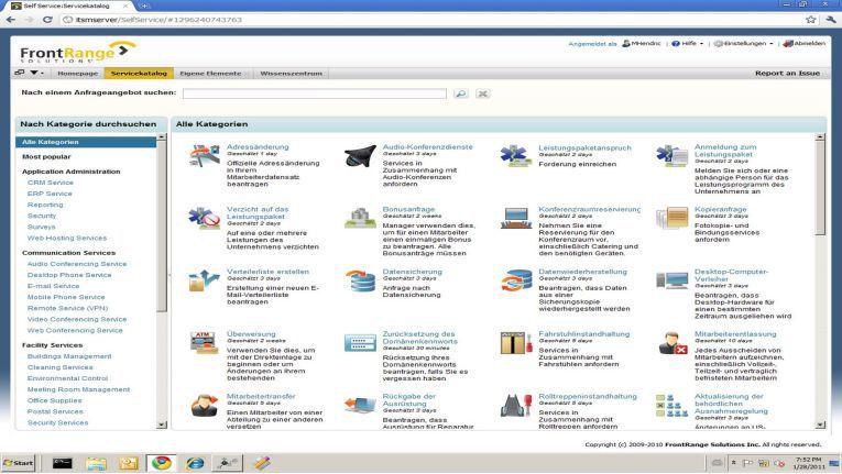 Dient ebenfalls dem Self Service: der Service-Katalog von FrontRange.