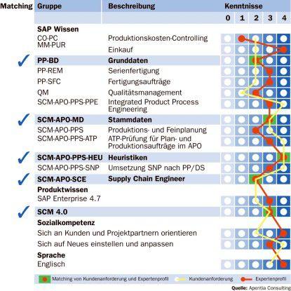 Anhand eines Matching-Verfahrens bringt das Apentia-System das Profil des SAP-Experten mit den Anforderungen des Arbeitgebers zusammen.