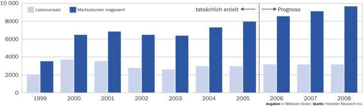 Seit 2004 nehmen die Lizenzeinnahmen für CRM-Software wieder zu. Stärker wachsen jedoch die Umsätze für Beratung und Dienstleistungen.