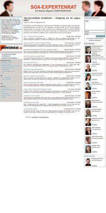 Wie können Unternehmen von Service-orientierten Architekturen profitieren? Wo liegen die größten Hürden und was sind die Konzepte der Softwarehersteller wert? Mit diesen Fragen beschäftigt sich der SOA-Expertenrat der COMPUTERWOCHE. Mitglieder des Gremiums sind hochkarätige Spezialisten aus Unternehmen und Forschungsinstituten. Diskutieren Sie mit, veröffentlichen Sie eigene Artikel und stellen Sie Fragen an den Expertenrat unter www.computerwoche.de/soa-expertenrat.