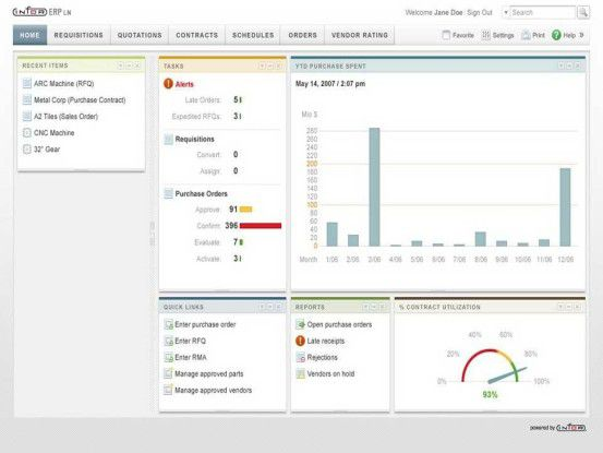 Die neue Interface-Technik dient Anwendern dazu, auf Berichte und Kennzahlen zuzugreifen sowie anstehende Aufgaben und Alerts zu sichten. Die Frontends der bestehenden ERP-Produkte bleiben bestehen.