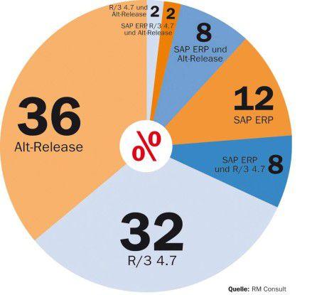 Viele SAP-Anwender nutzen mehrere Programmversionen. Da ein Großer Teil noch ein Altsystem (älter als R/3 4.7) als Haupt-Release fahren, rechnen Experten wie Nils Niehörster von RM Consult mit zahlreichen Migrationsprojekten in den nächsten beiden Jahren.
