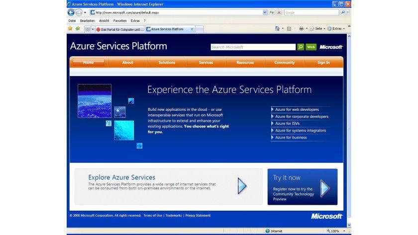 Live: Die Webseite von Windows Azure.