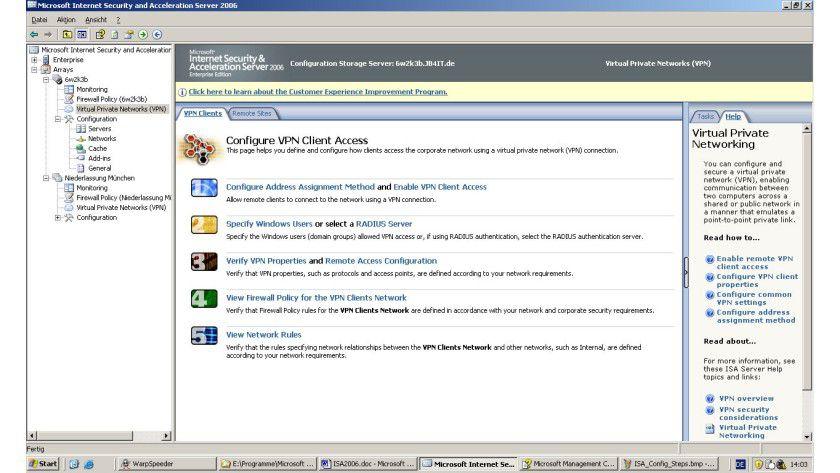 Die Verwaltung von Microsofts ISA wird durch zahlreiche Assistenten vereinfacht.