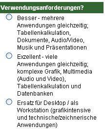 Abbildung 1: Konfiguratorfragen im HP-Shop.