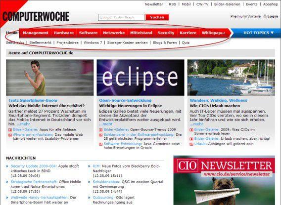 Auf COMPUTERWOCHE.de stehen Business-Inhalte im Vordergrund – jetzt erreichbar über die neue horizontale Navigation