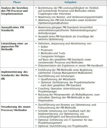 Checkliste zur Implementierung von PM-Standards