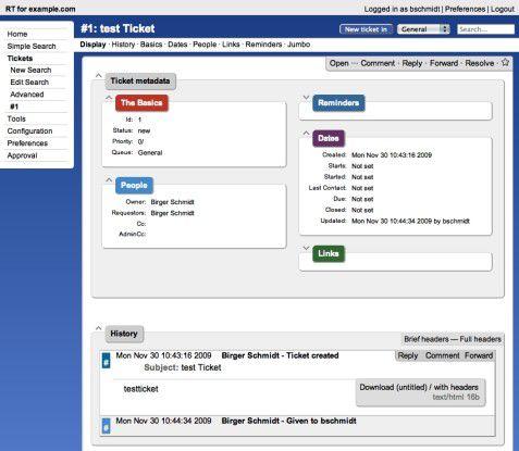 Ansicht eines einzelnen Tickets im Request Tracker.
