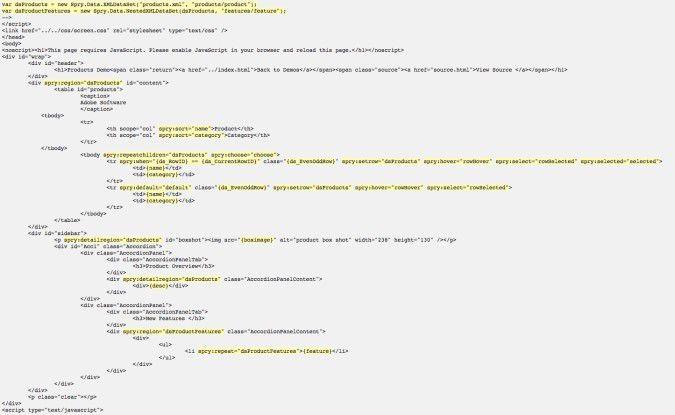 Anders als die meisten Ajax-Frameworks verwendet Spry eigene, nicht standardisierte HTML-Elemente (gelb markiert), die aber die Arbeit mit dynamischen Daten deutlich vereinfachen.