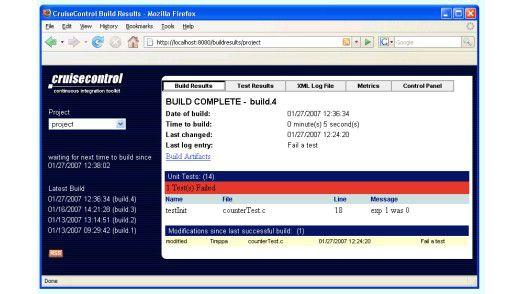 CruiseControl mit integrierter Web-Anwendung für die Konfiguration und Verwaltung von Build-Prozessen.