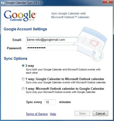Synchronisation von Kalendereinträgen zwischen Google Calendar und Microsoft Outlook.