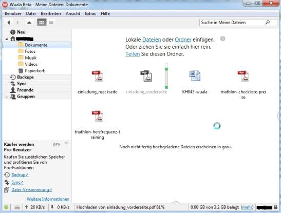 Arbeiten mit dem Online-Speicherdienst Wuala.