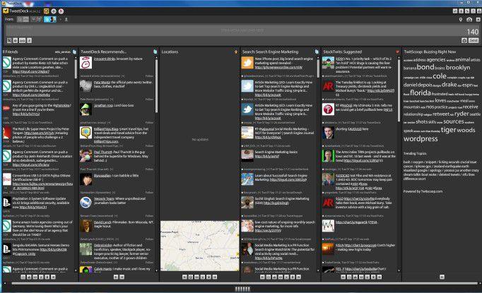 Die Benutzeroberfläche von TweetDeck.