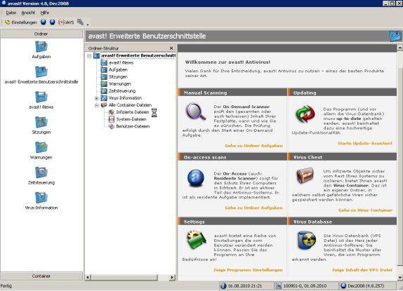 Windows Home Server geschützt mit der Avast WHS Edition.