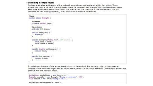 Dieser Codeabschnitt zeigt, wie einfach es ist, mit dem Simple-Framework Java-Objekte zu serialisieren.