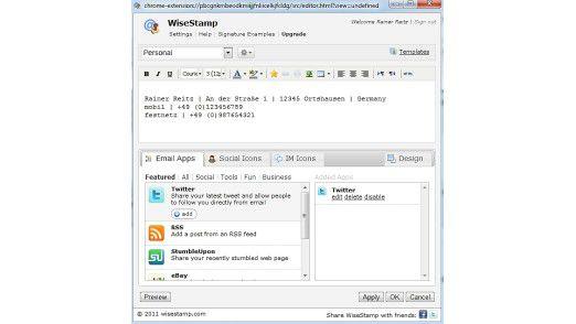 Wer im Social-Media-Umfeld nicht auf E-Mail-Signaturen verzichten kann, sollte sich WiseStamp ansehen.