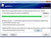 Prüfsumme: Die Anwendung kann die HD5-Hashwerte erstellen und überprüfen.